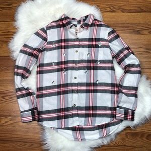 SO PERFECT RELAXED FIT PLAID BUTTON DOWN FLANNEL M